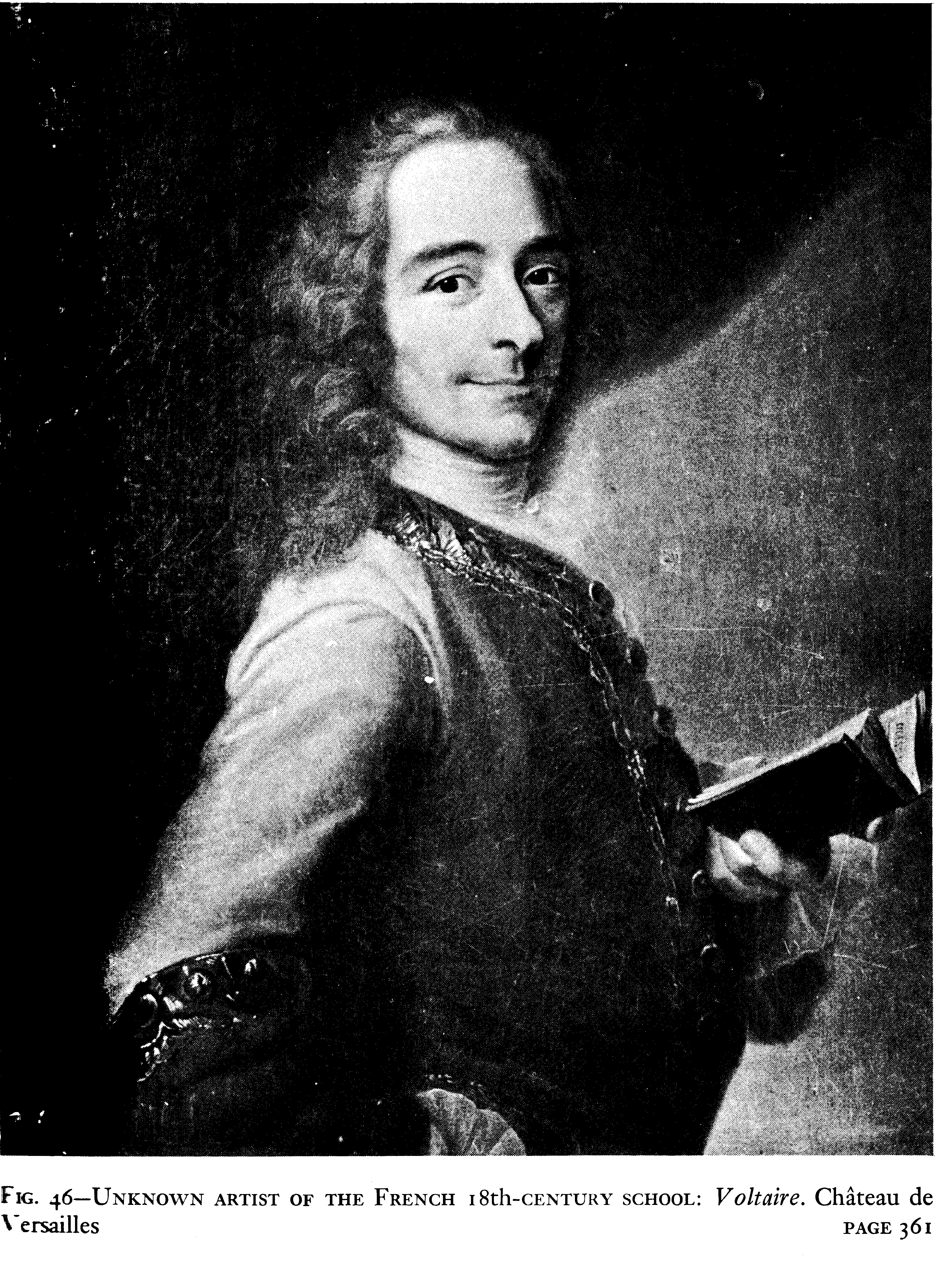 Voltaire with a book